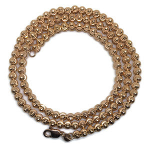 diamond cut bead rose gold on silver chain